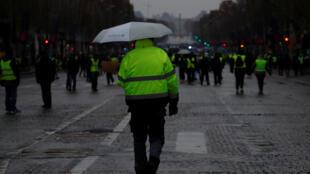 """La manifestación del 15 de diciembre en París reunió a menos """"chalecos amarillos"""" que en semanas anteriores."""