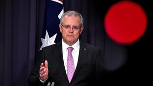 Prime Minister Scott Morrison speaks to the media alongside Minister for Foreign Affairs Marise Payne during a news conference at Parliament House in Canberra, Australia, October 16, 2018.