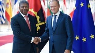 João Lourenço, Presidente de Angola, e Donald Tusk, Presidente do Conselho Europeu. Bruxelas, 4 de Junho de 2018.