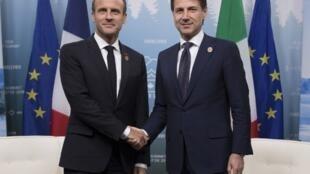 Emmanuel Macron da Giuseppe Conte Firaministan Italiya