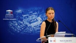 A ativista ambiental sueca Greta Thunberg durante seu discurso na Assembleia Nacional francesa em Paris, 23 de julho de 2019.
