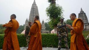 Des moines en prière dans le Temple de la Mahabodhi, sur le site de Bodh Gaya, lieu saint du bouddhisme, patrimoine mondial de l'Unesco, le 8 juillet 2008.