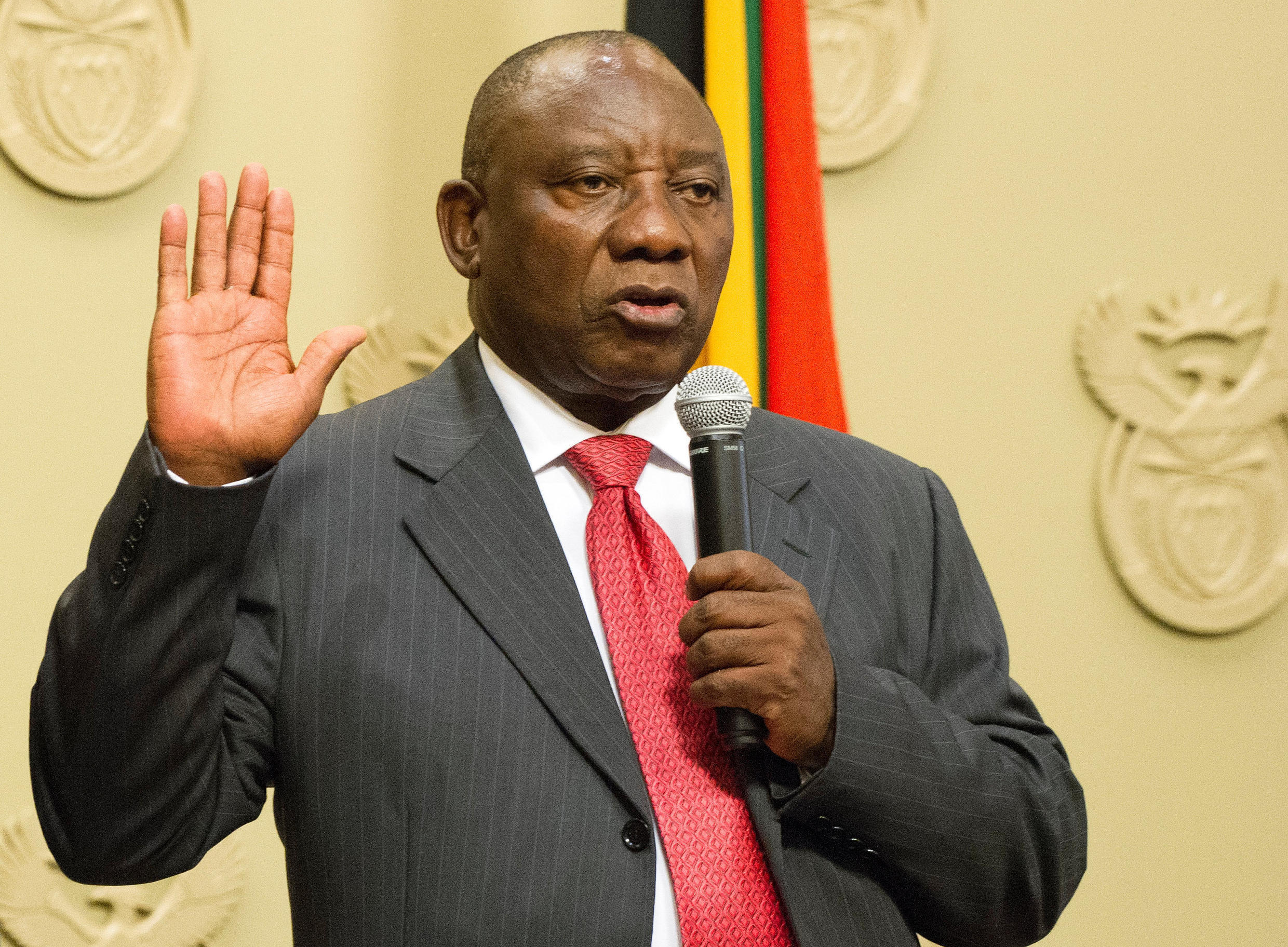 Cyril Ramaphosa is sworn in as the new South Africa president at the parliament in Cape Town on 15 February, 2018.