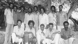 Les membres du comité exécutif du Front populaire de libération de l'Érythrée. Petros Solomon est debout, 5e en partant de la gauche.