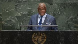 Presidente são-tomense Evaristo Carvalho na Assembleia Geral da ONU a 26 de Setembro de 2019.