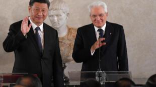 中國國家主席習近平與意大利總統馬塔雷資料圖片