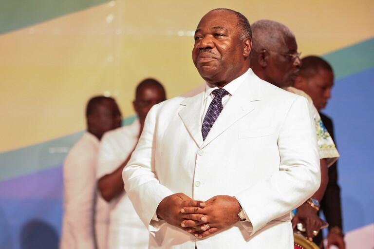 Le président Bongo en décembre 2017 à Akanda, près de Libreville.