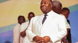 President Bongo at conference for the ruling Gabonese Democratic Party on 10 December 2017 in Akanda, near Libreville.
