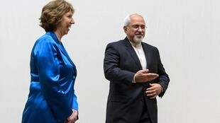کاترین اشتون، مسئول سیاست خارجی اروپا و محمد جواد ظریف، وزیر خارجه ایران