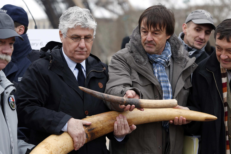 法国总统保护地球特使尼古拉•于洛和法国生态、可持续发展与能源部长菲利普•马丁 2014年2月6日在巴黎
