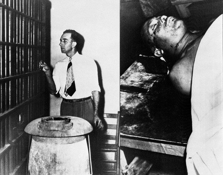 Irwington, Géorgie 1949 : le shériff George Hatcher (g) a laissé entrer les meurtriers dans la cellule de Calib Hill (d).