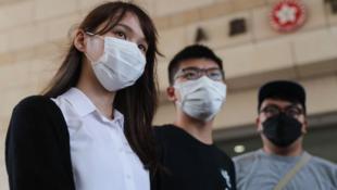 前香港众志成员周庭、黄之锋和林朗彦资料图片