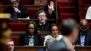 Jean-Luc Melenchon, leader of far-left opposition France Unbowed party and MP during the opening debate on the pension reform, 17 February 2020