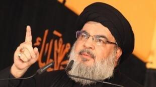 Shugaban Hezbollah, Hassan Nasrallah yana jawabi a kudancin Beyrouth ranar  24 ga watan oktoban 2015.