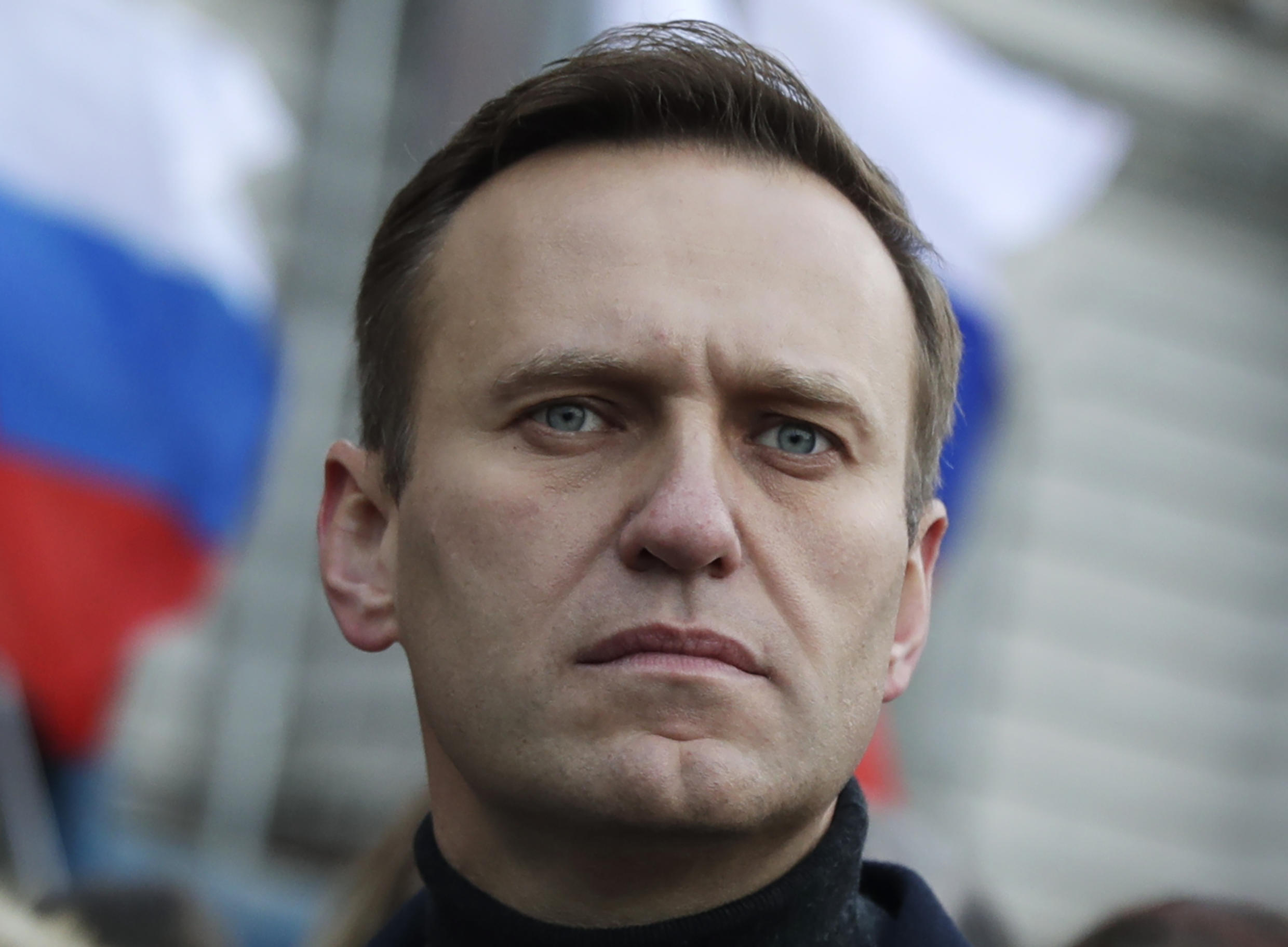 Alexei Navalny participating in a march to commemorate opposition leader Boris Nemtsov in Mosco on 29 February 2020.