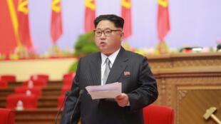 Lãnh tụ Bắc Triều Tiên Kim Jong Un phát biểu tại Đại hội đảng Lao Động lần thứ 7, ngày 06/05/2016.