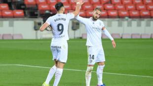 El atacante de Huesca Rafa Mir, acá en un partido jugado el 15 de marzo de 2021, anotó los dos goles en la victoria ante Levante en la apertura de jueva jornada de la La Liga de España