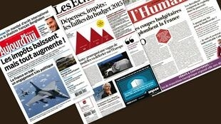 Capa dos jornais franceses Aujourd'hui en France, Les Echos e L'Humanité desta quinta-feira, 2 de outubro de 2014.