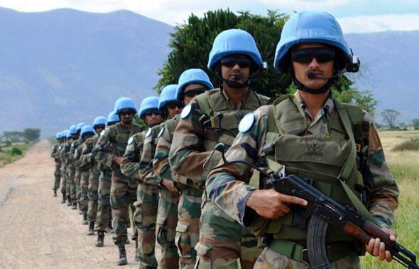 Rwindi, Nord-Kivu, RD Congo: des Casques bleus de l'Unité de réaction rapide du contingent indien, déployés à la base opérationnelle de la MONUSCO,19 novembre 2014.