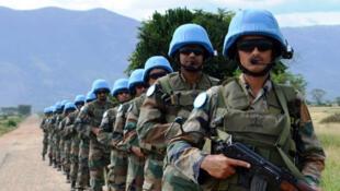Rwindi, Nord-Kivu (RDC): des casques bleus de l'unité de réaction rapide du contingent indien, déployés à la base opérationnelle de la Monusco,19 novembre 2014.