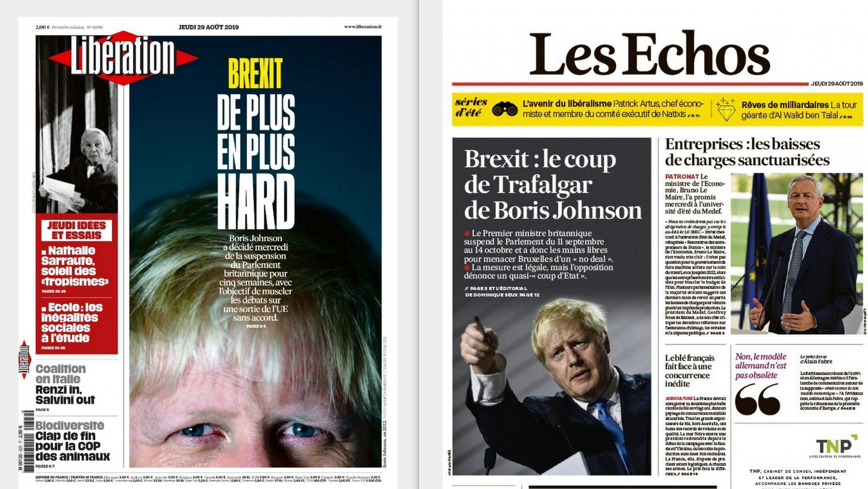 O primeiro-ministro Boris Johnson é destaque na imprensa francesa desta quinta-feira 29 de agosto de 2019.