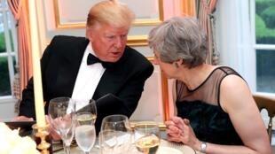 美国总统特朗普与英国首相特雷莎梅。