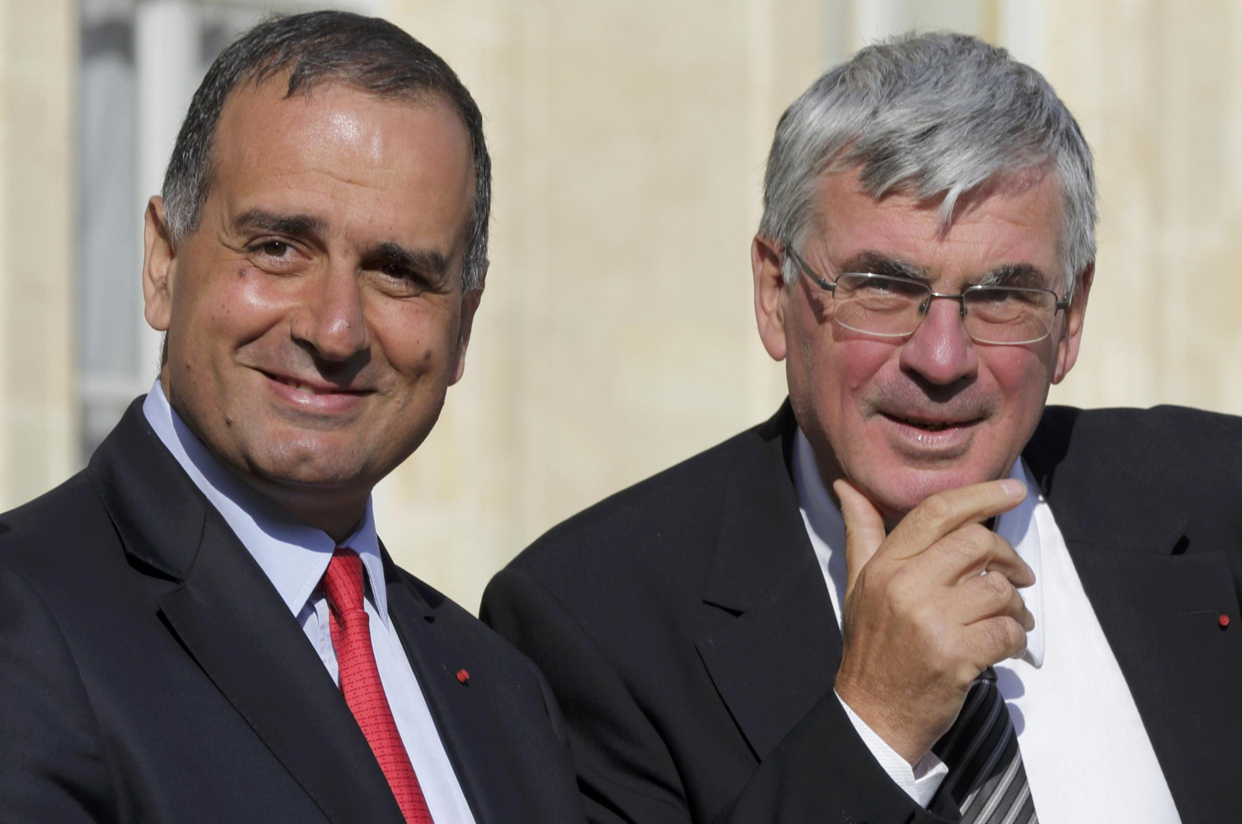 Marwan Lahoud, chief strategy of Airbus and Jean-Paul Herteman, chief executive officer of Safran at the Elysee Palace in Paris, 16 June 2014.