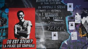 Graffiti em Nantes em homenagem a Steve Maia Caniço