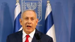 Le Premier ministre israélien Benyamin Netanyahu lors d'une conférence de presse, ce dimanche 18 novembre 2018 à Tel-Aviv.