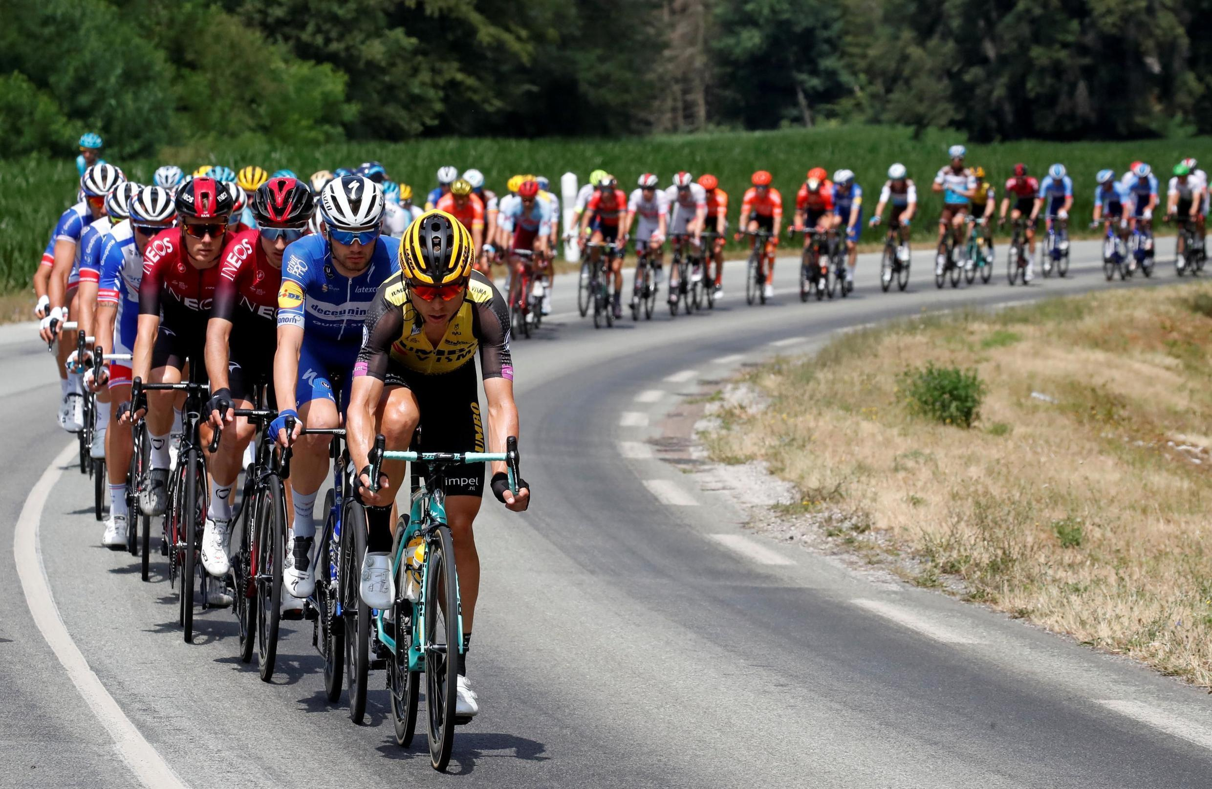 Team Jumbo-Visma rider Tony Martin of Germany leads the peloton on the 230-km stage 7 of the Tour de France from Belfort to Chalon-sur-Saone, 12 July 2019.