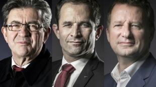 Da esquerda para a direita os candidatos de esquerda às presidenciais francesas, Mélenchon, Jadot e Hamon.