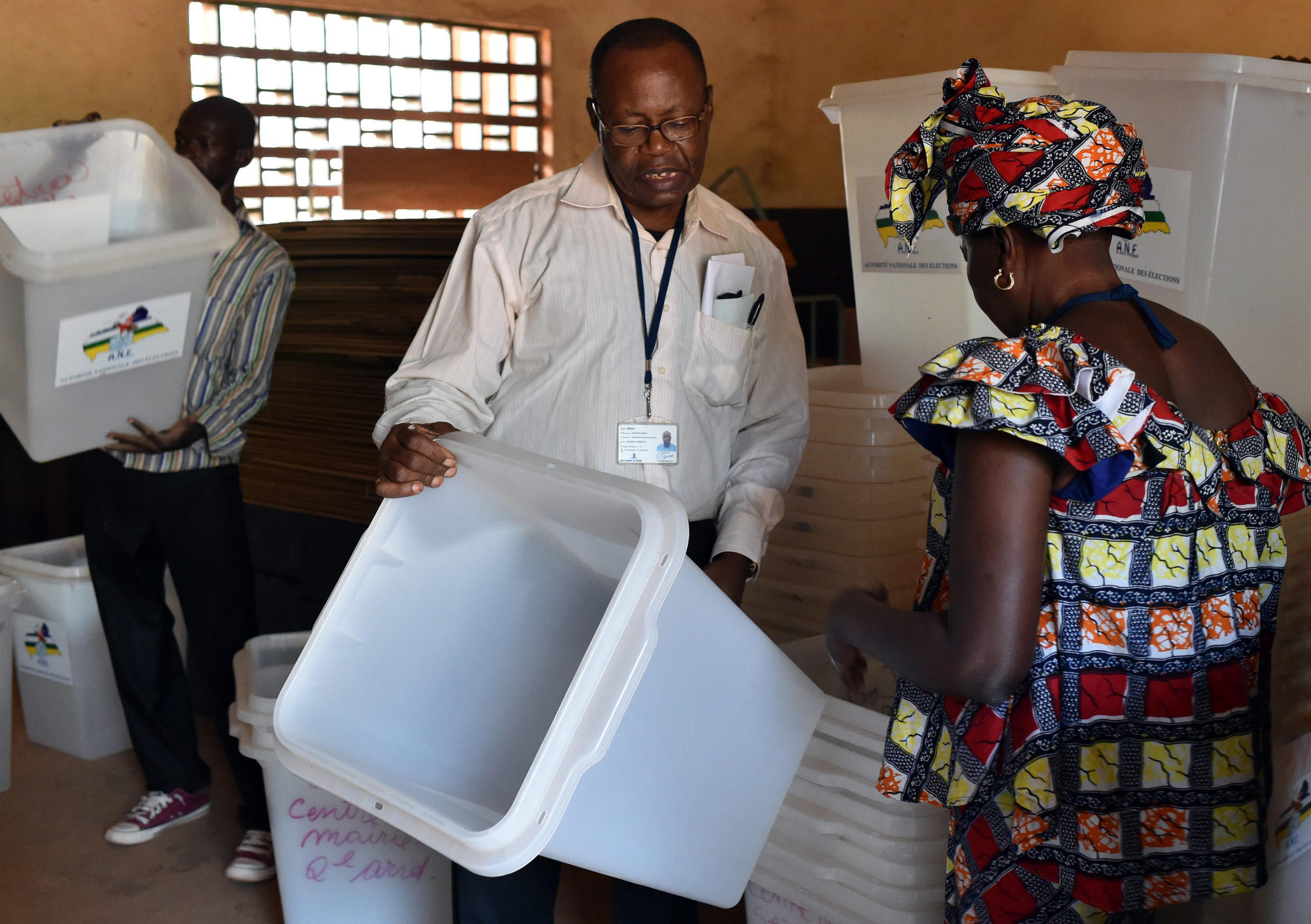 Preparations at polling stations in Bangui, Central African Republic