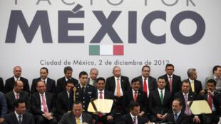 El PRI, PRD y PAN firmaron el Pacto por México en diciembre de 2012.