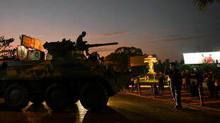 Myanmar soldiers manoeuvre around major cities on armoured vehicles