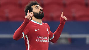 Mohamed Salah celebra el primer gol del Liverpool al Leipzig en el partido de los octavos de final de la Liga de Campeones disputado el 10 de marzo de 2021 en Budapest