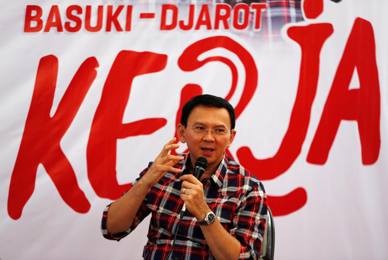 """Đô trưởng Basuki """"Ahok"""" Tjahaja Purnama trong cuộc vận động tranh cử tại Jakarta, Indonesia, 15/11/2016"""