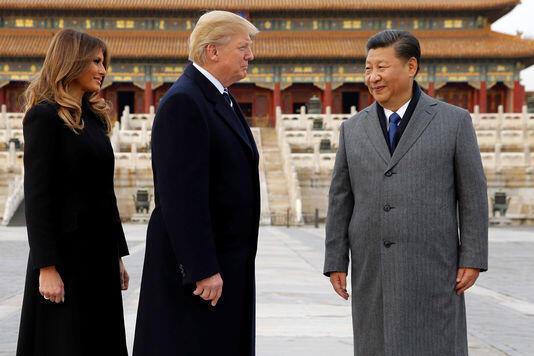 中国国家主席习近平在故宫博物院迎接来华进行国事访问的美国总统特朗普和夫人梅拉尼娅