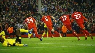 Liverpool's Dejan Lovren celebrates after scoring his side's fourth goal.