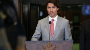 Anh tư liệu: Thủ tướng Canada Justin Trudeau, trong một cuộc họp báo tại Quốc Hội tại Ottawa, Canada.