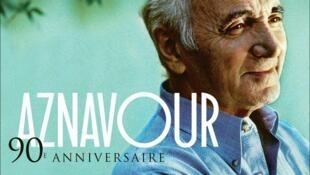 Bìa dĩa nhạc sinh nhật 90 tuổi của Charles Aznavour.