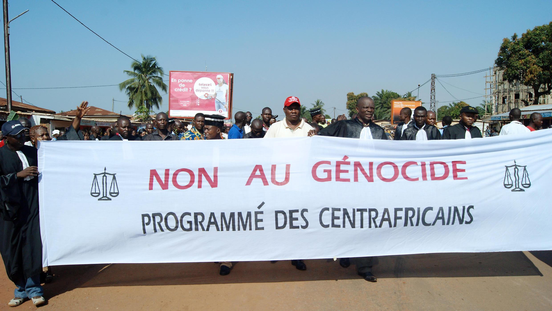 Lors de la manifestation des magistrats et du monde judiciaire, à Bangui, le vendredi 22 novembre.
