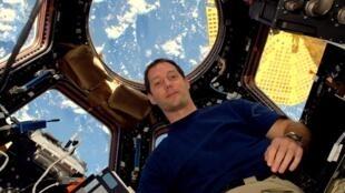 L'astronaute français Thomas Pesquet à bord de la Station spatiale internationale.