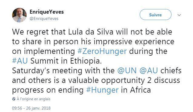 Reação da FAO à ausência de Lula no evento.