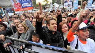 Los apoyos colombianos del Centro Democratico, justo antes de cerrarse la campaña legislativa en Bogotá, el 4 de marzo de 2018.