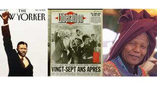 Nelson Mandela. (© New Yorker ; © Libération ; © AFP/YOAV LEMMER)
