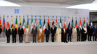 OPEC oil ministers pose for a family photo before starting the meeting of the OPEC 14th Meeting of the Joint Ministerial Monitoring Committee in Jeddah, Saudi Arabia, May 19, 2019
