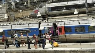 Trains at Montparnasse railway station station in Paris shortly after techincal problems disrupted traffic last year