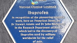Plaque in recognition of the research leading to the  discovery of ibuprofen