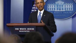 Au pupitre de la salle de presse de la Maison Blanche, Barack Obama a prononcé un discours apaisant, ce vendredi 19 juillet.