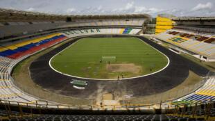 Le stade Cachamay, à Puerto Ordaz, au Venezuela, qui a accueilli des matchs de la Copa America 2007, une compétition qui oppose les équipes de football américaines. La crise économique a mis fin à l'âge d'or du sport vénézuélien.